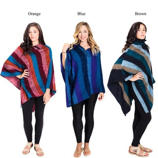 Striped Waterfall Winter Woolen Poncho (Nepal)