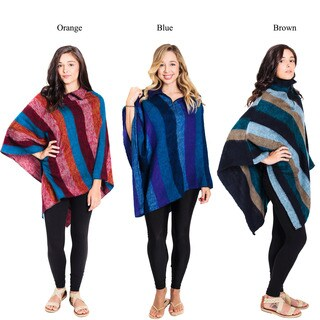 Handmade Striped Waterfall Winter Woolen Poncho (Nepal)
