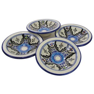 Set of 4 Le Souk Ceramique Round Tibarine Stoneware Sauce Dishes (Tunisia)