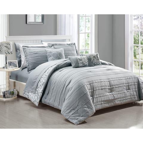 Chic Home Zarina BIB Grey Comforter 10-Piece Set