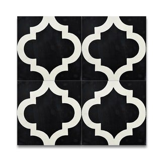 Lantern Black and White Handmade Cement and Moroccan Granite 8 x 8-inch Floor/ Wall Tiles (Case of 12)