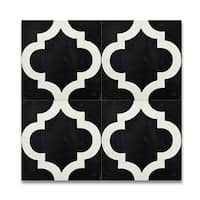 Lantern Black and White Handmade Moroccan 8 x 8 inch Cement and Granite Floor or Wall Tile (Case of 12)