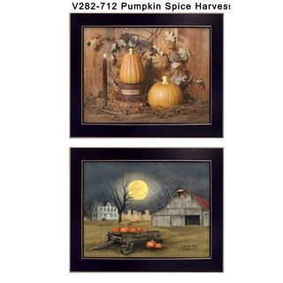 """Pumpkin Space Harvest"" Collection By Billy Jacobs, Printed Wall Art, Ready To Hang Framed Poster, Black Frame"