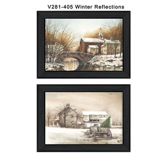 """Winter Reflections"" Collection By John Rossini, Printed Wall Art, Ready To Hang Framed Poster, Black Frame"