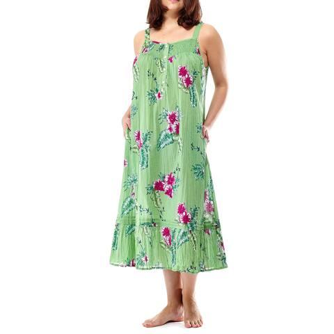 La Cera Women's Thin-strap Printed Gown
