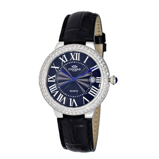 Oniss ON3322 Ladies' Silvertone/Black Swiss Stainless Steel/Leather Timepiece