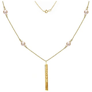 """DaVonna 14k Yellow Gold Beads and Rope Chain with 6-6.5mm Pink Round Freshwater Pearl Necklace and Rectangle 'LOVE' Pendant. 18"""""""