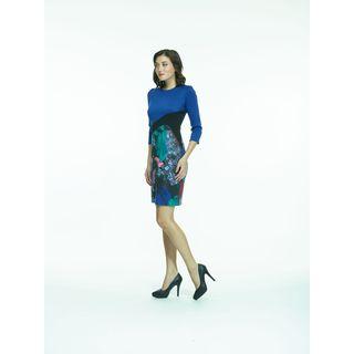 Amelia Blue/Black Color Block Three-quarter Sleeve Ponte Dress