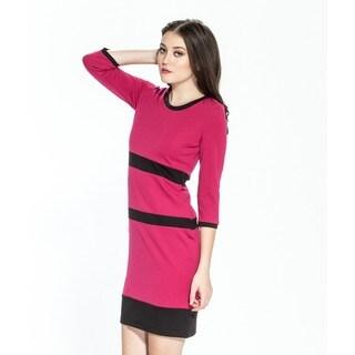 Amelia Women's Color Block Three-quarter Sleeve Ponte Dress
