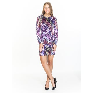 Amelia Women's Purple Polyester Long-sleeve Printed Lace Dress
