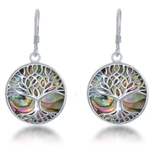 La Preciosa Sterling Silver Natural Stone Tree of Life Circle Dangle Earrings