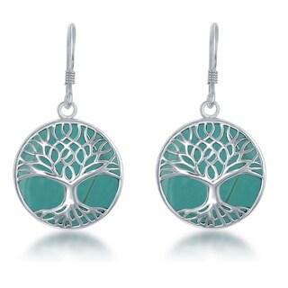 La Preciosa Sterling Silver Natural Stone Tree of Life Circle Dangle Earrings