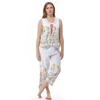 La Cera Women's Pink Cotton Sleeveless-top Floral-printed Pleated Pajama Set
