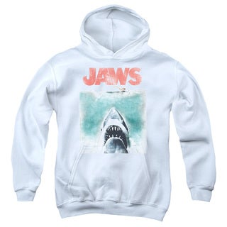 Jaws/Vintage Poster Youth Pull-Over Hoodie in White