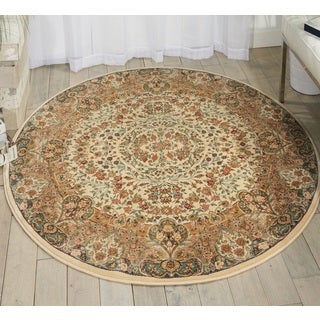 kathy ireland Antiquities Stately Empire Ivory Area Rug (3'9 Round) by Nourison