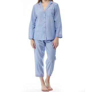La Cera Women's Blue Cotton Long-sleeved Striped Pajama Set
