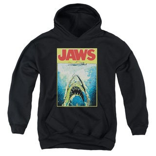 Jaws/Bright Jaws Youth Pull-Over Hoodie in Black