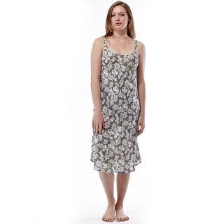 La Cera Women's Green Rayon Sleeveless Printed Nightgown