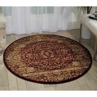 kathy ireland Antiquities Stately Empire Burgundy Area Rug (3'9 Round) by Nourison