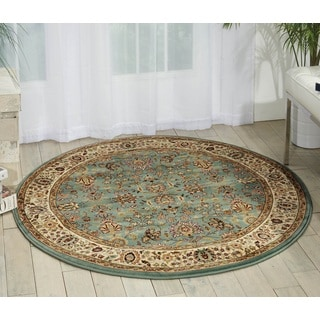 kathy ireland Antiquities Royal Countryside Slate Blue Area Rug (3'9 Round) by Nourison