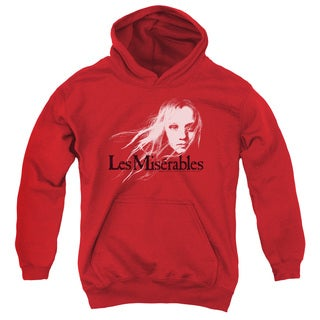Les Miserables/Textured Logo Youth Pull-Over Hoodie in Red