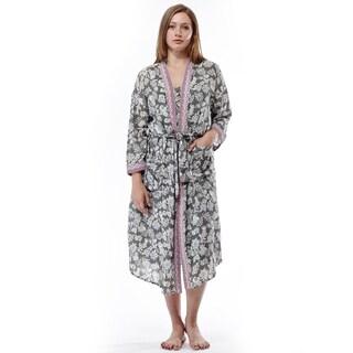 La Cera Women's Printed Rayon Robe