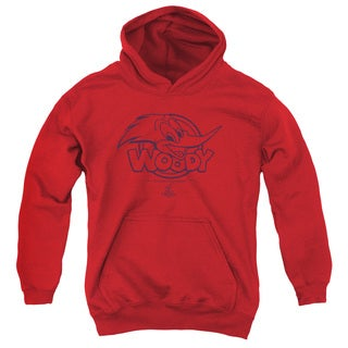 Woody Woodpecker/Big Head Youth Pull-Over Hoodie in Red