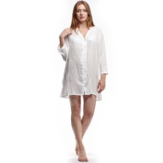 La Cera Women's White Rayon Long-sleeve Sleep Shirt
