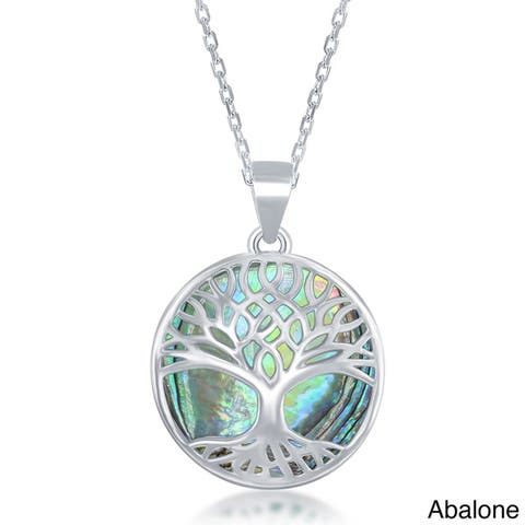 La Preciosa Sterling Silver Natural Stone Tree of Life Pendant Necklace