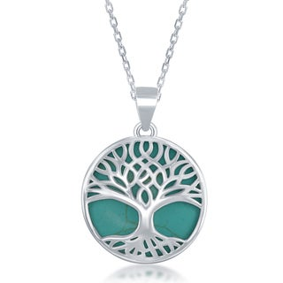 La Preciosa Sterling Silver Natural Stone Tree of Life Circle Pendant