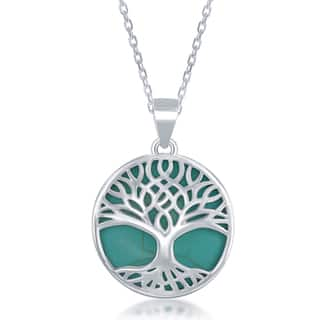 La Preciosa Sterling Silver Natural Stone Tree of Life Pendant Necklace|https://ak1.ostkcdn.com/images/products/12350551/P19178739.jpg?impolicy=medium