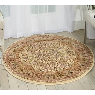 kathy ireland Antiquities American Jewel Ivory Area Rug (3'9 Round) by Nourison