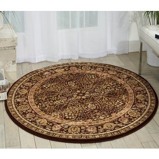 kathy ireland Antiquities American Jewel Espresso Area Rug (3'9 Round) by Nourison