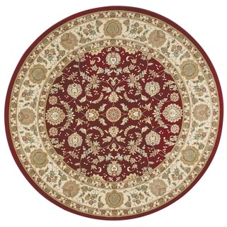 kathy ireland Antiquities Empress Garden Garnet Area Rug (3'9 Round) by Nourison