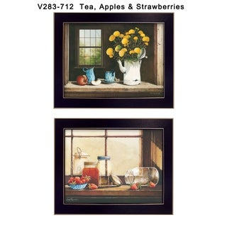 """Tea, Apples and Strawberries"" Collection By John Rossini, Printed Wall Art, Ready To Hang Framed Poster, Black Frame"
