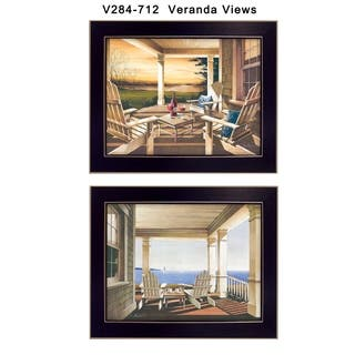 """Veranda Views"" Collection By John Rossini, Printed Wall Art, Ready To Hang Framed Poster, Black Frame