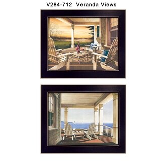 """Veranda Views"" Collection By John Rossini, Printed Wall Art, Ready To Hang Framed Poster, Black Frame"