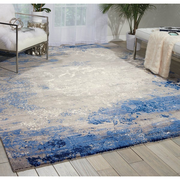 Nourison Twilight Blue Grey Area Rug 5 X27