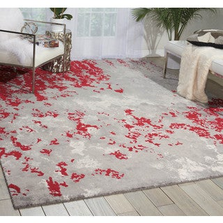 Nourison Twilight Grey/Red Area Rug (8'6 x 11'6)