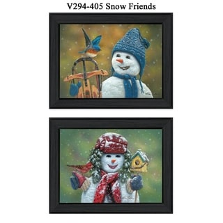 """Snow Friends"" by Kim Norlien Printed Framed Wall Art"