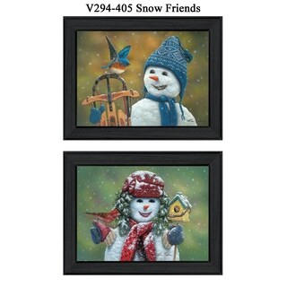 """Snow Friends"" Collection By Kim Norlien, Printed Wall Art, Ready To Hang Framed Poster, Black Frame"