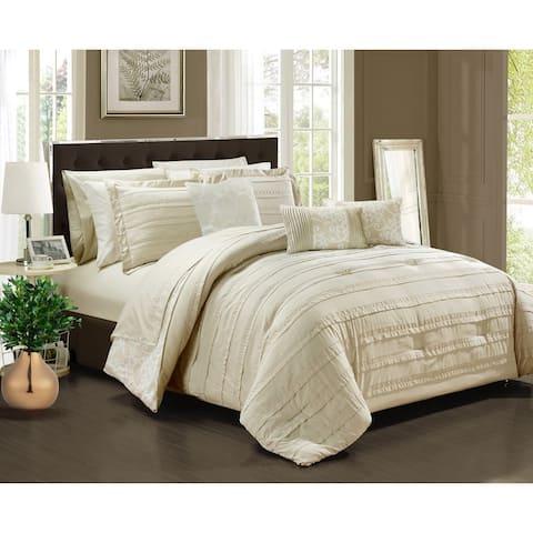 Chic Home Zarina BIB Beige 10-Piece Comforter Set