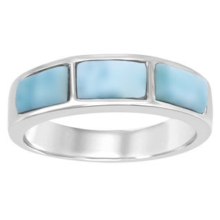 La Preciosa Sterling Silver Blue Larimar Band Ring