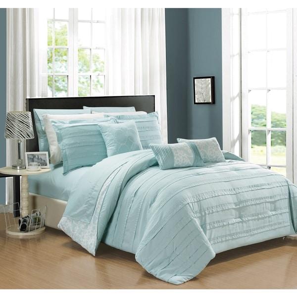 Chic Home Zarina BIB Aqua 10-Piece Comforter Set