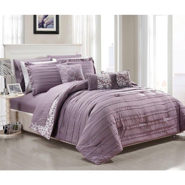 Chic Home Zarina BIB Purple 10-Piece Comforter Set