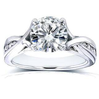 Annello 14k White Gold 1 1/5ct TCW Round Moissanite and Diamond Engagement Ring (H-I, I1-I2)