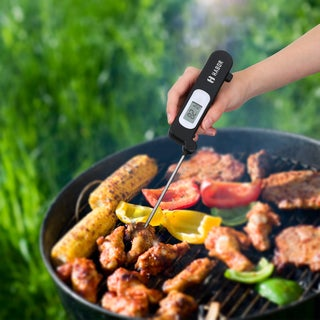 Stainless Steel Probe Digital Instant-read Cooking Thermometer for Food and Liquids - Black