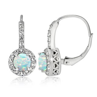 Glitzy Rocks Sterling Silver Gemstone Birthstone Round Leverback Earrings (More options available)