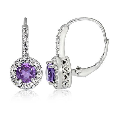 Glitzy Rocks Sterling Silver Gemstone Birthstone Round Leverback Earrings