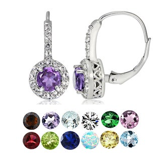 Glitzy Rocks Sterling Silver Gemstone Birthstone Round Leverback Earrings